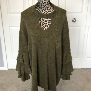 Olive green long sweater with ruffle sleeves